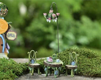 Fairy Garden  - Fairytale Bistro Set & Chandelier Light - Miniature