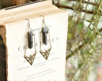 Black Quartz Crystal Earrings, Tribal Earrings, Boho Earrings, Bohemian Earrings, Gypsy Earrings, Mystical Earrings, Crystal Earrings
