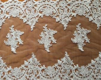 1 yard Lace Trim Alice Venice Exquisite Floral Birdal Wedding Veil  16.9 inch Super width