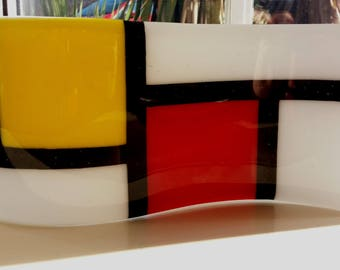 Mondrian Inspired Standalone, Waved Fused Glass Ornament