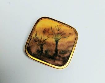 Vintage UHLIG painted silk brooch