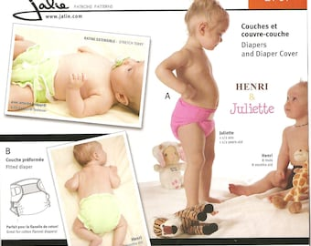 Jalie Pattern 2907: Diapers and Diaper Cover. All-in-one, pocket, fitted diaper, side snap cover. Sizes Premie thru 2T.  UNCUT
