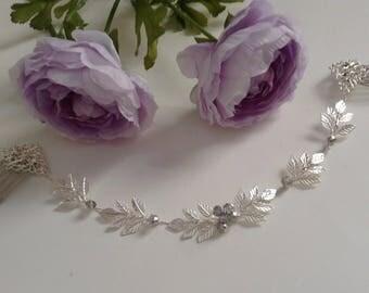 Boho Bridal Silver Laurel Leaf Hair Vine, Silver Hair Halo, Sash Belt, Crystals Pearls, Double Hair Vine or Single Halo, Headpiece 1(S)