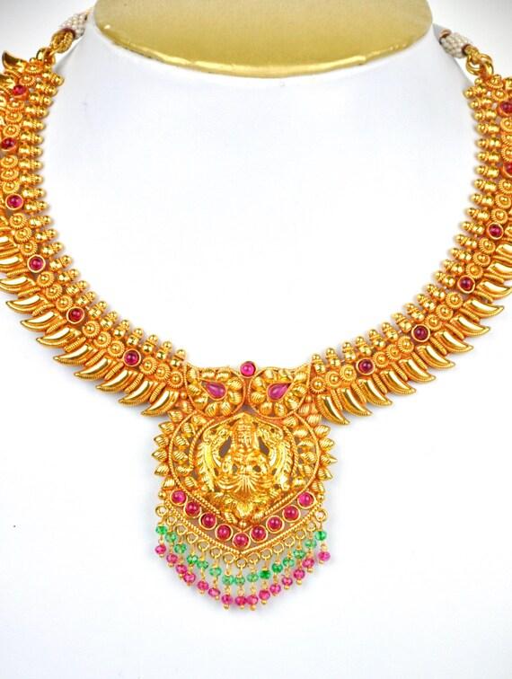 Antique gheru polish mango design kemp kerala necklace  with jhumkis  | Indian Jewellery | Indian Necklace | Temple Jewelry