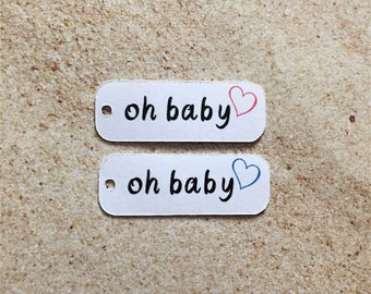 Small Baby Shower Favor Tags, Oh Baby Favor Tags, Mini Nail Polish Favor Tags