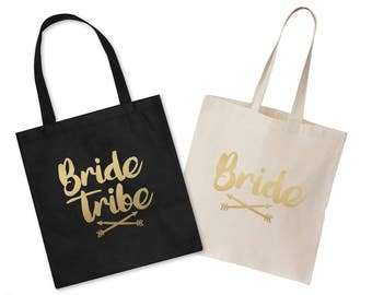 Bride Tribe Wedding Tote Bag Hen Party Do Gift Wifey Bridesmaid Squad Matching Set