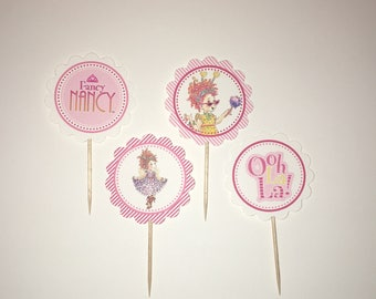 Fancy Nancy - 12 cupcake toppers