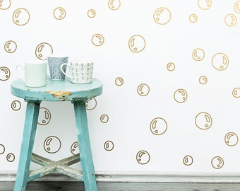 Bubble Wall Decals - Vinyl Wall Decals, Bubble Wall Decal Set, Bubble Outline Wall Stickers, Kids Room Decor, Gold Decals, Modern Wall Decal