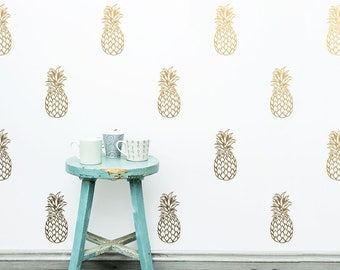 Pineapple Wall Decals - Detailed Vinyl Wall Decals, Unique Pineapple Decor, Gold Decals, Silver Decals, Metallic Wall Decor, Unique Gifts