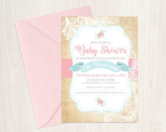 Shabby Chic Baby Shower Invitation. DIY Printable