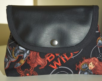 Handmade Black Widow makeup bag with attached brush roll.
