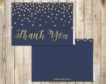 NAVY BLUE Gold Blank THANK You Card, Navy Gold Glitters Nautical Thank You Card, Confetti Thank You, Diy Printable Digital, Instant Download