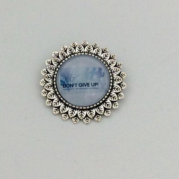 "Leaf Circle ""Don't give up"" Regional Convention 2017 Pin, Blue Velvet Gift Bag Included! Approx. 1.25"" Circle"