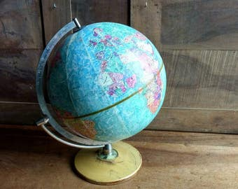 French vintage globe made by STERO - RELIEF Scan -globe circa 1960.