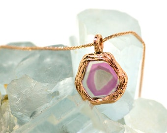 14k Rose Gold Pink and Yellow Tourmaline Necklace