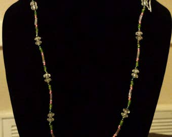 Green, Pink & Clear Bead Necklace