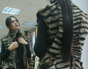Sale -10%! New in!!!Natural Real ANIMAL PRINT fullskin Rabbit  Fur vest!!!