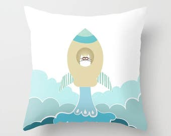 Spaceships Pillow Personalized Rocket ship Gift for Girls Boys Playroom Clouds Universe Outer space Cat  Sky Astronaut Space Camp Stars Moon