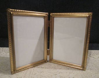 Vintage Double 5 x 7 Picture Frames...Gold Metal Photo Frame...Wedding Picture Photo Frames...Table Top Picture Frames Art Deco Gifts...79