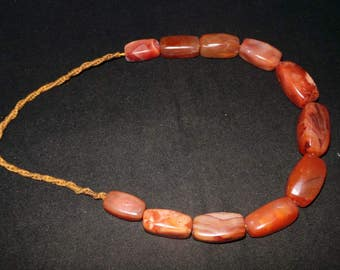 Old Afghanistan Ethnic Rectangular Shaped Red Carnelian Bead Necklace