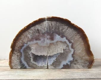 Agate Bookends Geode Book Ends - Natural Gray and Brown