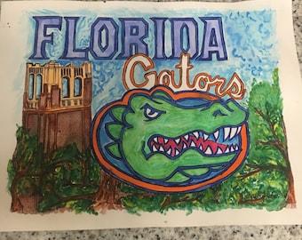 University of Florida Gators Watercolor Painting Reprint