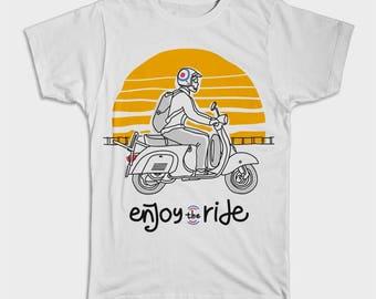 Enjoy the ride T-Shirt, Vespa, Scooter, Honda, Sunset, Joy of riding