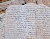 Digital Download - set two French Antique 17th Century Vellum handwritten letters calligraphy jpg file, vintage, ephemera, script,