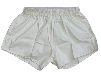 Vintage Ex-Army Shorts NEW white genuine 1980s cream silky military PT hot pants retro sports gym