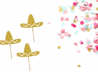 Set of 6 Sombrero Cupcake Topper - Fiesta Theme Party Decor - Taco Party Decor - Cinco De Mayo Decor - Taco Cupcake toppers