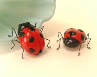 Two Ladybug Ornaments, Ladybird Figure, Polymer Clay Bug, Insect Model, Garden Bug Figurine, Ladybug Figurine, Ladybird Model, Model Bug