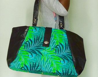 Large handbag/weekender in rich vegan leather and tropical ankara (genuine African wax print)