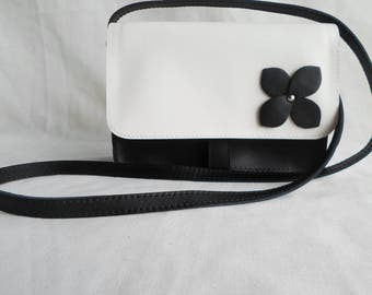 Black saffiano leather bag with flap or all black with white flower