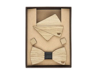 Clutch, bow tie and cufflinks made of oak (Woodillon)