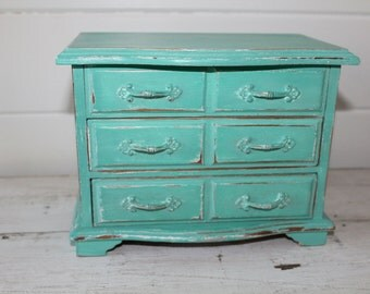 Turquoise Blue Wooden Musical Jewelry Box Tiffany Blue Inspired Paint Color