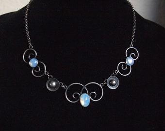 Vintage Modernist Necklace,Opalescent Necklace,Destash