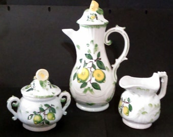 Vintage Made in Italy Coffee Pot Cream & Covered Sugar Set Figural Lemon Shaped Handles