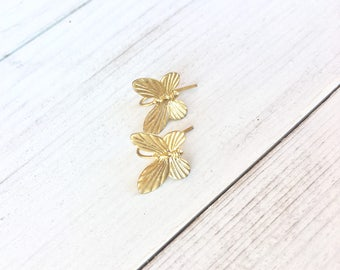 Butterfly earrings gold plated