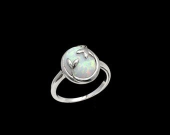 Fire Opal 10X12 Oval Olive Leaf Ring .925 Sterling Silver  Sizes 6-7-8
