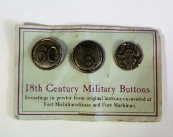 18th Century Military Buttons Pewter recastings from original