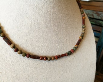 Natural tone necklace, Mens beaded necklace, for him.