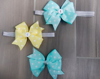 Customizable Polka Dot Pin Wheel 4 Inch Hairbow Headband- Many Colors for bow or band
