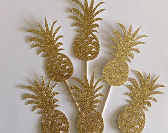 12 x Pineapple Cupcake Toppers, Gold Pineapple Toppers, Tropical Party Decor, Summer Party Decor