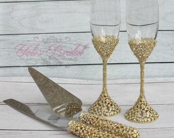 Swarovski Crystal Wedding toast Set, Champagne Glasses, Weeding Toasting flutes, Cake server Set, Cake Knife and Server Set