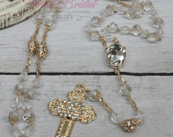 FAST SHIPPING!! Handcrafted Beautiful Wedding Gold Rosary, Wedding Rosary, Rosary Wedding Gift