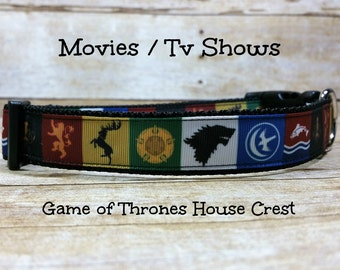 Game of Thrones Dog Collar, House Stark, House Lannister, House Greyjoy, House Baratheon, House Tully, Grosgrain Ribbon Collar, Pet Collar