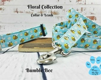 Bees Dog Collar and Leash, Spring Dog Leash, Summer Dog Collar and Leash, Bumble Bees Dog Collar and Leash, Dog Collar and Leash Set