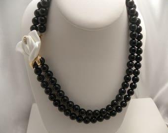 Vintage Kenneth J. Lane KJL For Avon White Flower Black Bead Two Strand Necklace