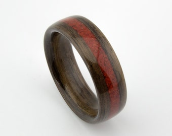 Bentwood Ring Handcrafted In  Indian Rosewood with Red Coral Inlay //Wooden Jewelry//wood ring for men or women