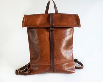 Roll Top Backpack, Rucksack, Backpack, Leather Backpack, Leather Roll Top Backpack, Leather Rucksack